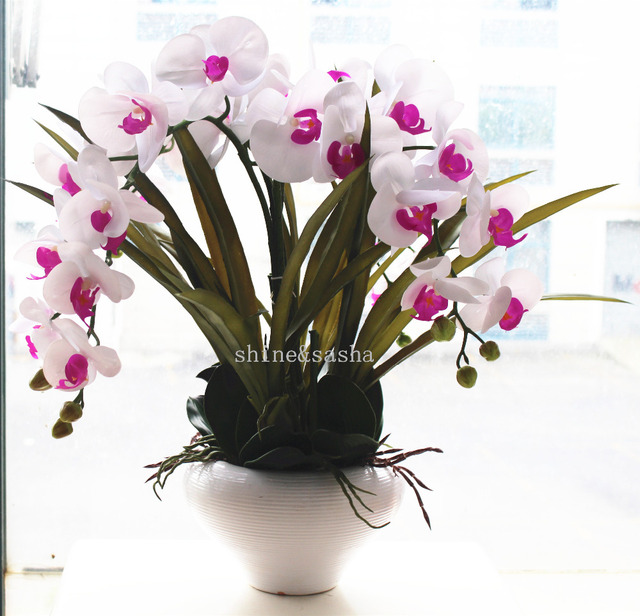 Relatively 1set silicon real touch artificial orchid flower arrangement  LT71