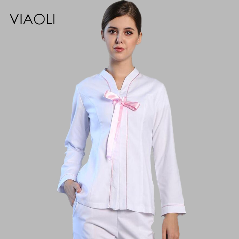 Viaoli Medical Uniforms Nursing Scrubs Clothes for Beauty long Sleeve coat Doctor Clothing Lace decoration