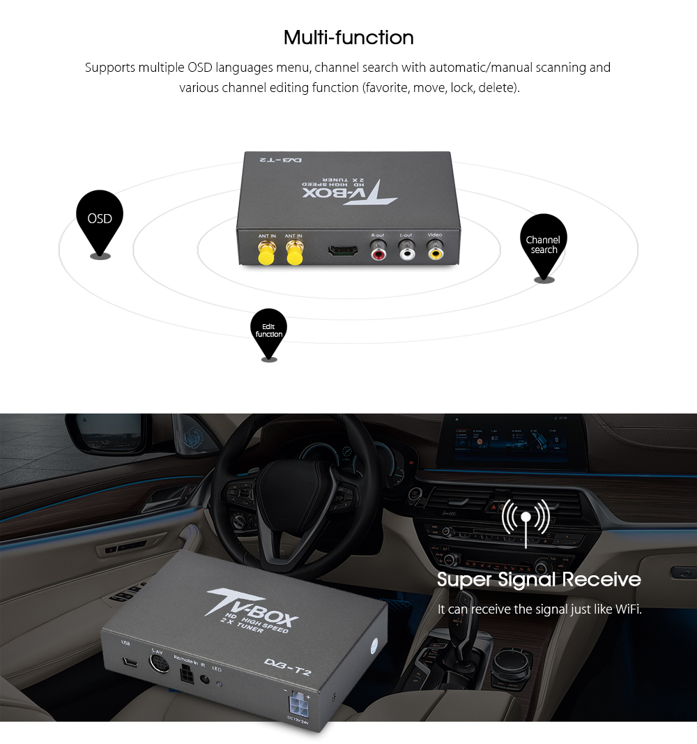 T338B HD DVB - T2 Car Digital TV Tuner with 2 Amplifier Antenna USB Receiver TV Box hot digital car tv tuner dvb t2 car tv receiver hdmi 1080p cvbs dvb t2 support h 264 mpeg4 hd tv receiver for car free shipping