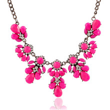 Multi Style Colorful Exquisite Chain Collar Choker Rhinestone Resin Fluorescent Color Flower Statement Woman Necklace
