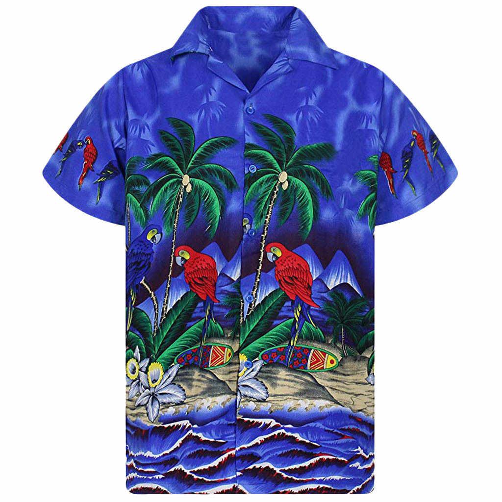 Мужская летняя рубашка на пуговицах, повседневная, однотонная, с короткими рукавами, Гавайские, пляжные, Гавайские, вечерние, летние, праздничные, Необычные