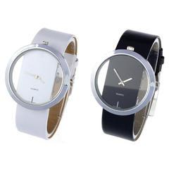 Модные женские часы Прозрачный циферблат кожаный ремешок аналоговые кварцевые часы в стиле кэжуал наручные часы из искусственной кожи