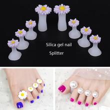New product 8Pcs/Pack Silicone Toe Separator Daisy Flowers Designs Spacers Manicure Tools Soft Nail Splitter Device