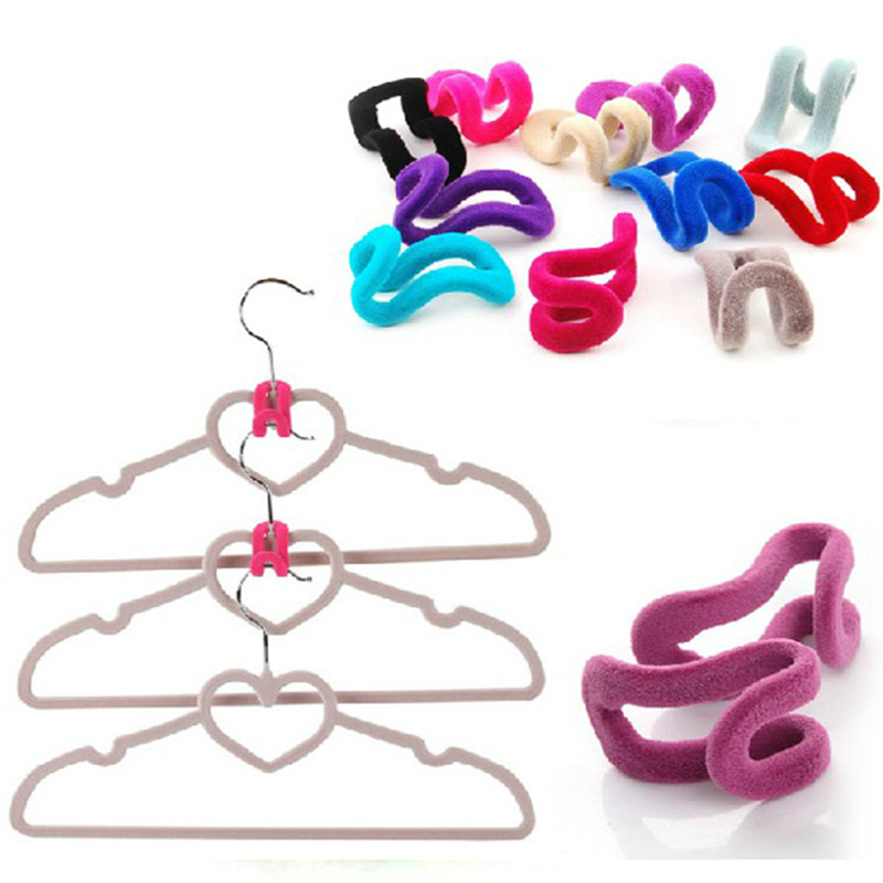 Light Pink 10pcs Novelty Anti-slip Mini Flocking Clothes Rack Hanger Hooks