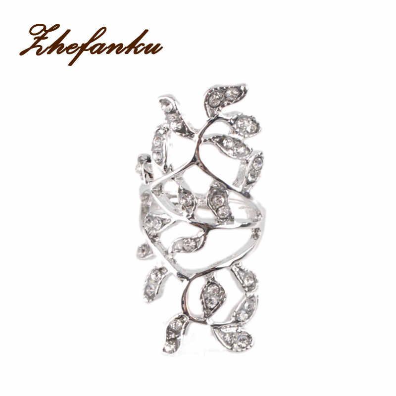 ใหม่ออกแบบซิลเวอร์โกลด์ชุบแฟชั่นแหวนโนเบิลหรูหราสง่างามเสน่ห์เพทายแหวนคริสตัลดอกไม้RING-0349