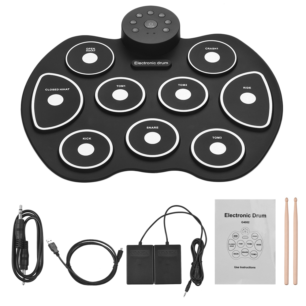 Compact Size Roll-Up Drum Set Silicon Digital Electronic Drum Kit 9 Drum Pads with Drumsticks Foot Pedals for Beginners Children