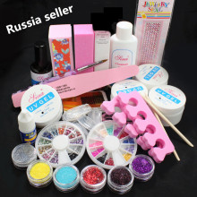 Russia Seller Professional False Nail Art Tips Acrylic Glitter Powder Glue File UV Gel Full Kit Set Ship From Russian 168