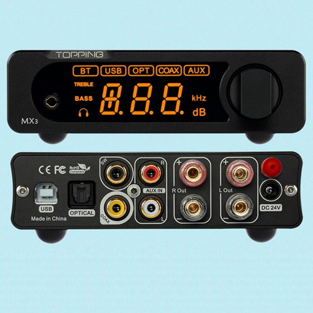 2017 GARNITURE MX3 Multifonction Bluetooth Numérique Hifi Amplificateur 40 w * 2 USB Coaxial Fiber Décodeur Casque Amplificateurs Amp NFC