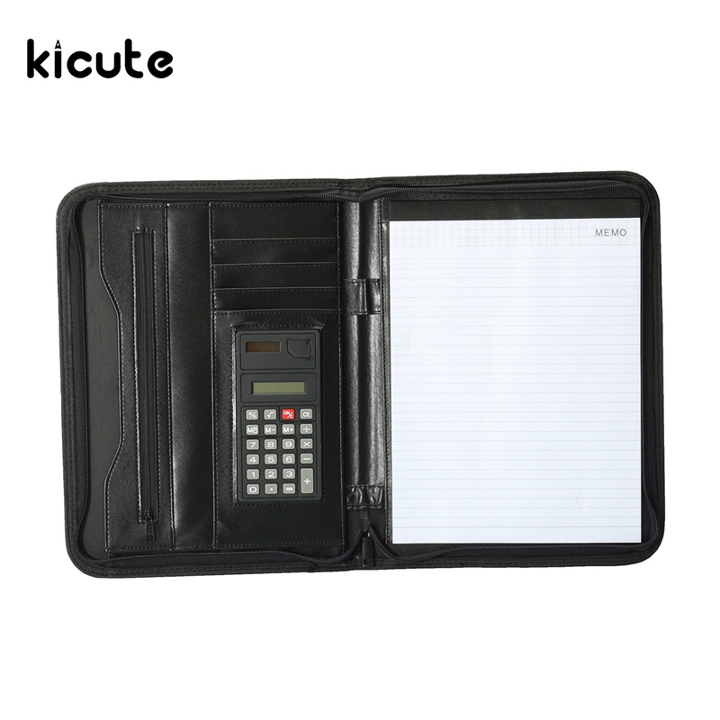 Kicute A4 Conference Manager Folder Zipped Leather Portfolio Organiser With Calculator Document Bag File Folder Bussiness Supply компрессор для ваз где