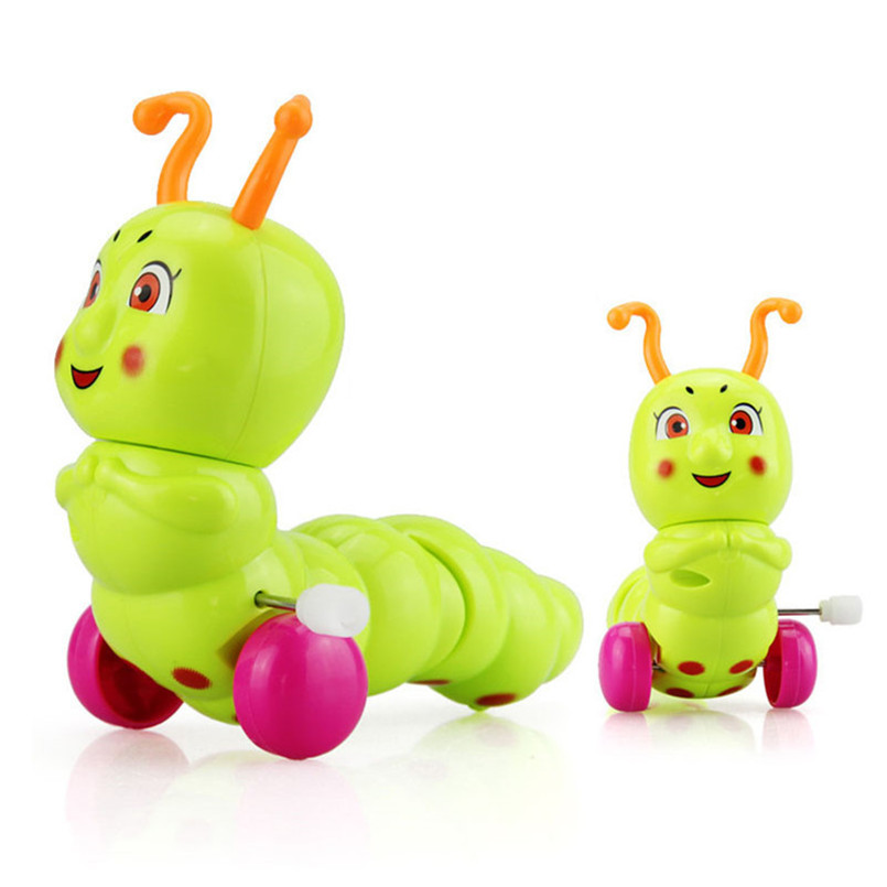 Mini Funny Colorful Clockwork Toy Baby Kid Caterpillar Wind Up Running Clockwork Spring Toy Random Color
