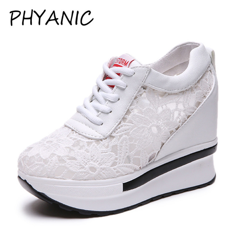 PHYANIC Hot Sales 2018 Summer New Lace Breathable Sneakers Women Shoes Comfortable Casual Woman Platform Wedge Shoes PHY3228 phyanic 2017 summer gladiator sandals straw platform creepers silver shoes woman buckle casual women flats shoes phy4046