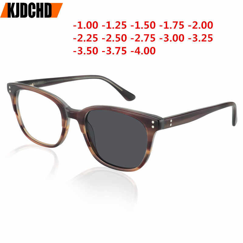 Acétate fini myopie lunettes cadre hommes femmes avec lentille photochromisme caméléon lunettes de soleil lunettes myopes avec Diopters