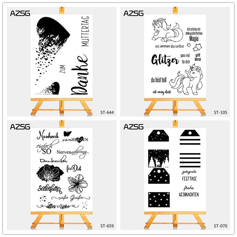 Palavras alemãs/Língua Silicone Transparente Limpar Stamps/selo para DIY Fazer Scrapbooking/Cartão/Photo Album Decoração suprimentos