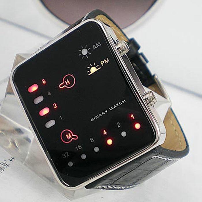 Лидер продаж Профессиональный довольно цифровой красный светодиодный спортивные наручные часы двоичной наручные искусственная кожа Для ж...