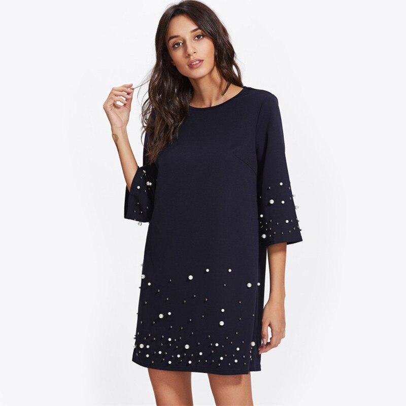 Fashion Pearl Beading Tunic Dress 2018 New Fashion Womens Straight Dress  Three Quarter Length Sleeve Short Dress
