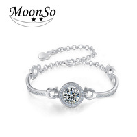 Two Gifts Simulated Diamond Genuine 100 925 Pure Sterling Silver Bracelets Bangles 2014 New For Women