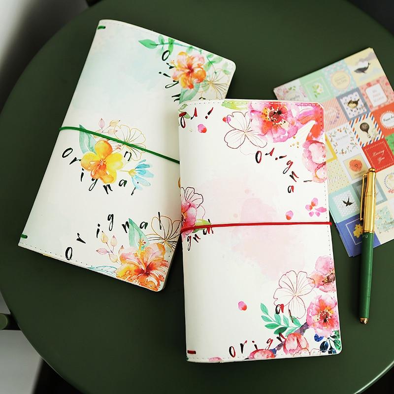 Brand New Girl Birthday Gift 22*13cm PU Travel Journals Notebook Flower Printed Planner Agendar Pocket Diary Notebook