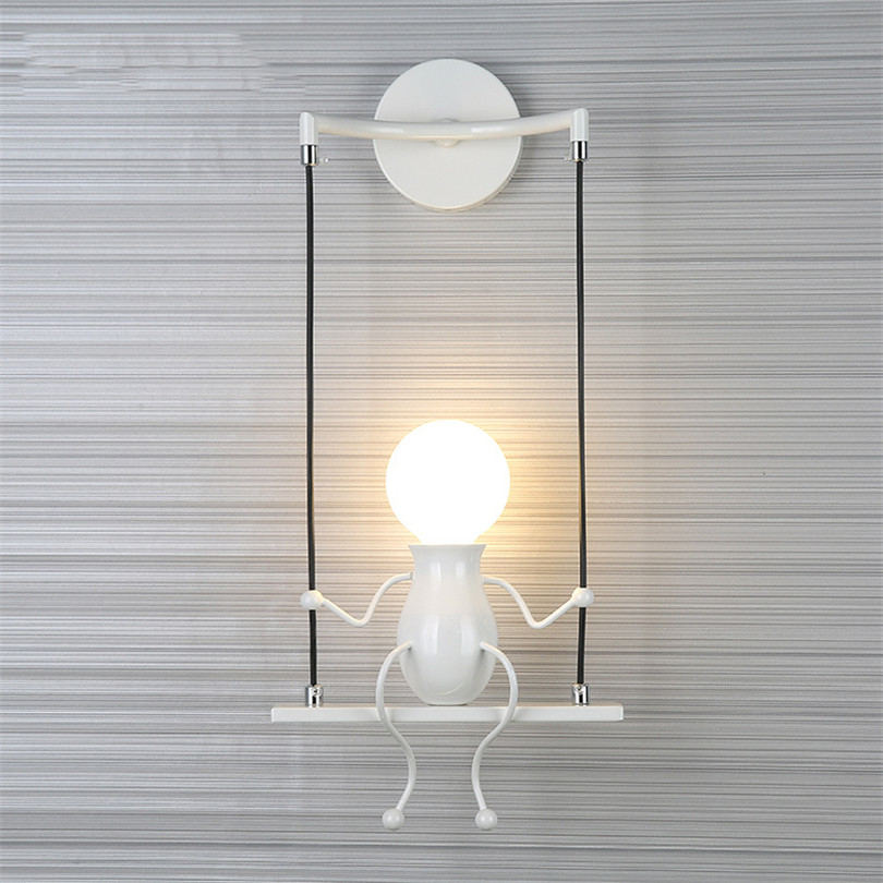 Modern Cartoon Doll Wall Light LED Creative Mounted Iron Sconce Lighting Lamp for Kids Baby Room Living Room Bedroom Decoration california exotic vivid raw life size body banger мастурбатор в виде торса с вибрацией