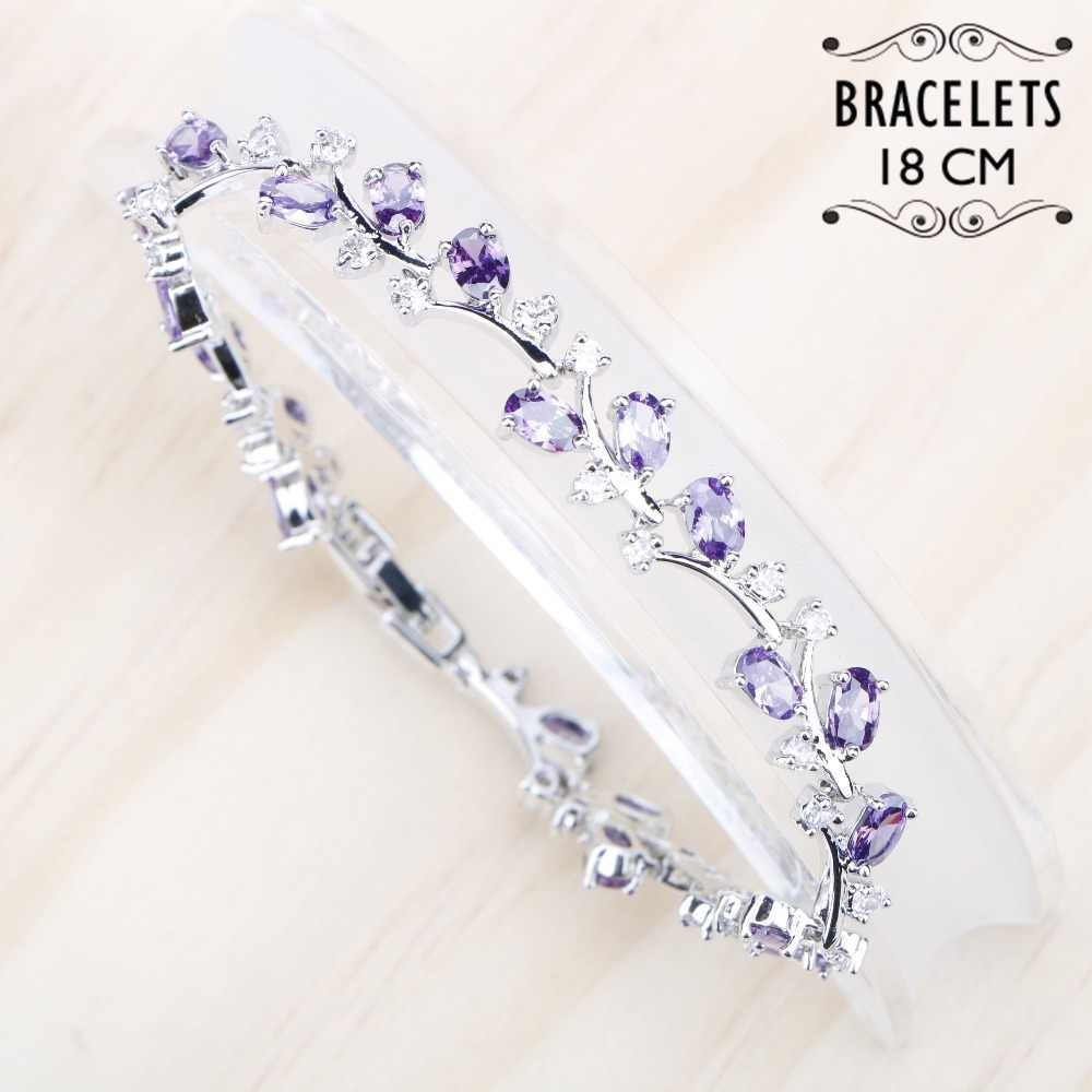 Silver 925 Jewelry Bracelet For Women 18CM Purple White Cubic Zircon Bracelets Free Gift Box