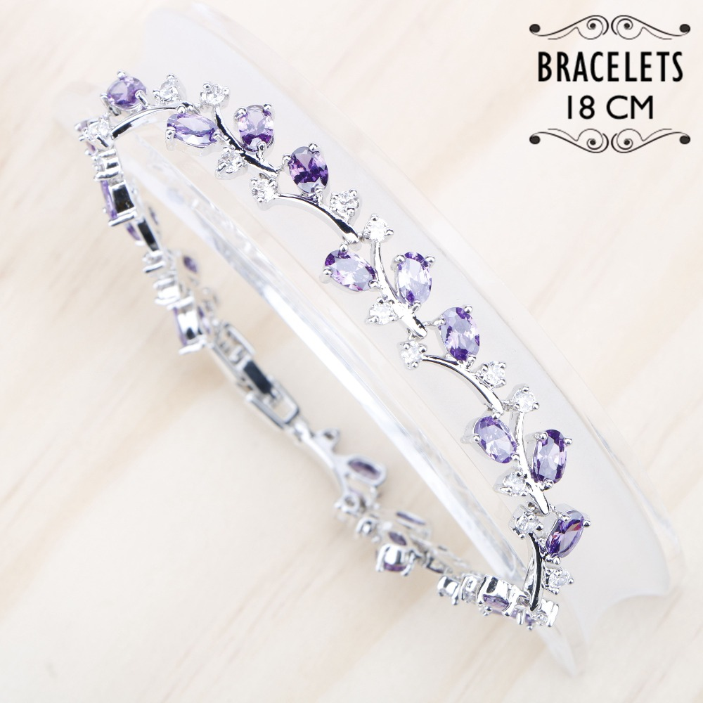 цены Silver 925 Jewelry Bracelet For Women 18CM Purple White Cubic Zircon Bracelets Free Gift Box