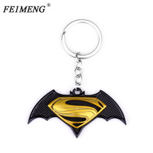 Avengers Super Hero Superman Batman Keychain Black Bat S Logo Metal Keyring For Men Car Key Chain Fashion Jewelry Trinkets(China)
