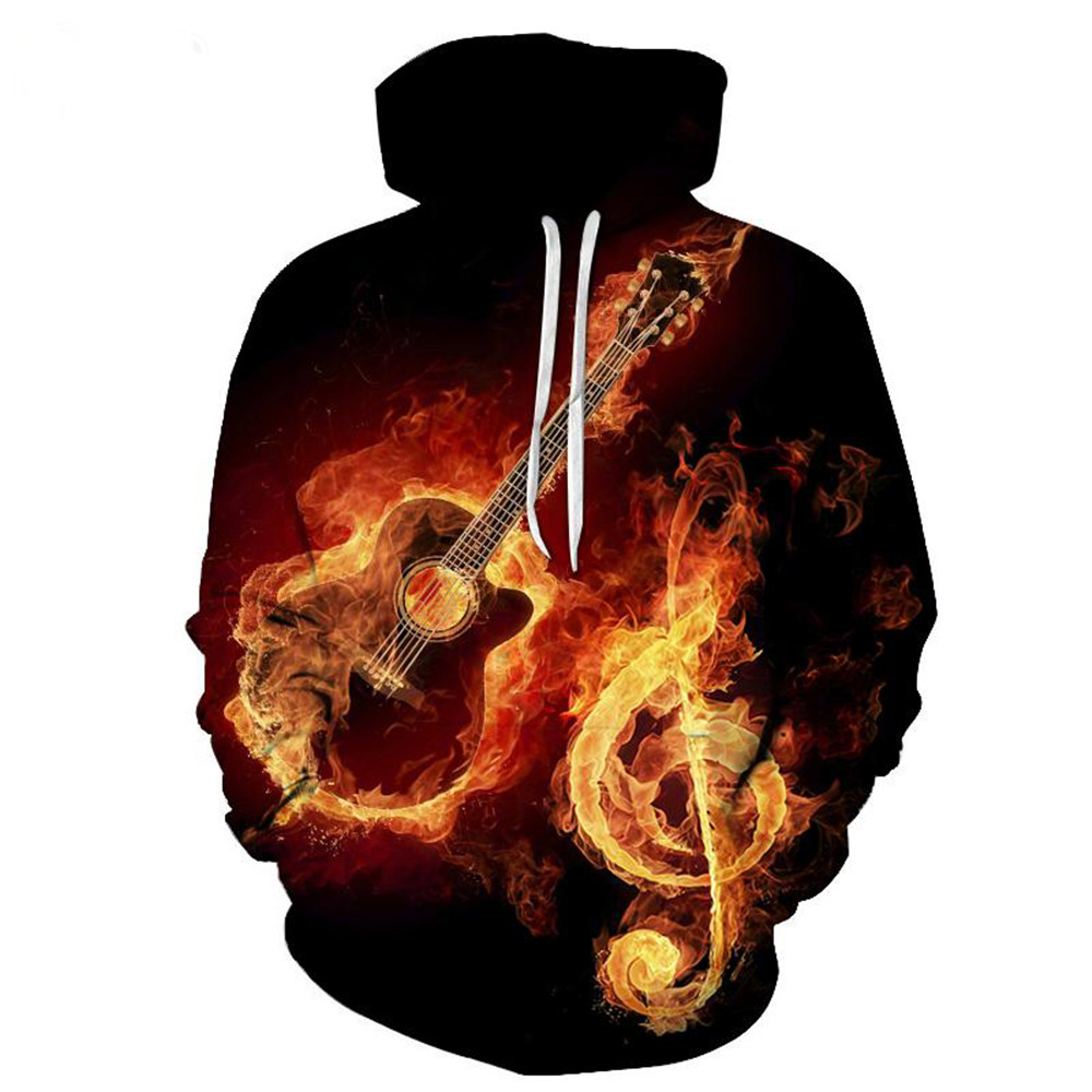Passion Fire Music Hoodie 3D Note Guitar Street Printed Tracksuit Fitness Men Hot Sale Sweatshirt Casual Streetwear Hip Hop Tops ...
