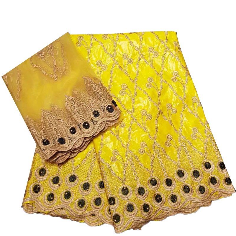 Yellow Excellent quality African bazin brode getzner with beads cotton bazin riche fabric for wedding dress JA96-2