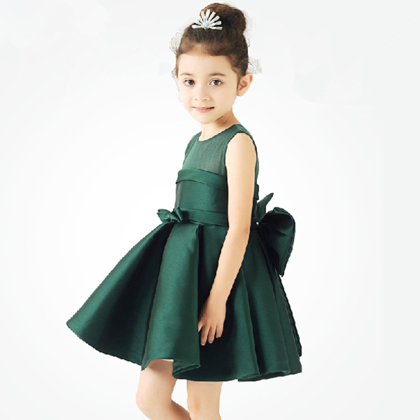 5c809f2b83a1 2016 Fashion Girl dress Summer dress Dark Green Red Wine Stain Bow Flowers  Organza Zipper Flower Girl Dresses Kids Pageant dress