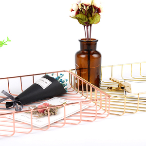 Image 3 - Rose Gold Metal A4 Magazine Organizer Creative Meeting Notepaper Memo Holders File A4 Paper Storage Racks Table Magazines Holder
