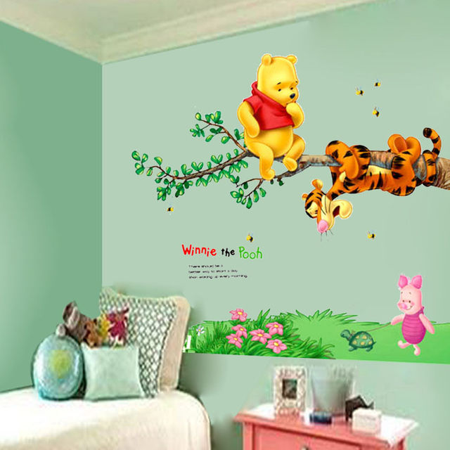 Cartoon Bear Tiger Tree Bee Wall Stickers For Kids Room Home Decoration Decals Nursery Children