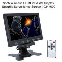7inch Wireless HDMI VGA AV Display Screen HD Computer TV CCTV Security Monitor Surveillance Screen 1024x600 EU Plug