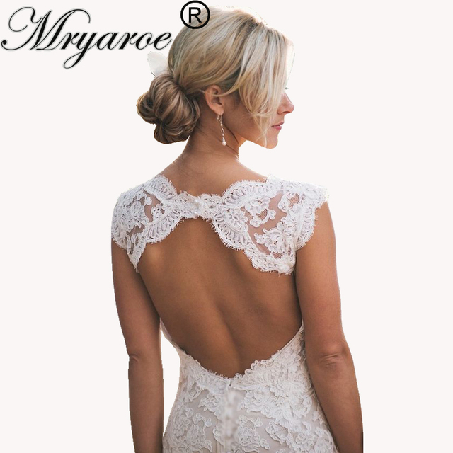 41c892f8e599 Mryarce Full Lace Bohemian Wedding Dresses Country Style Pluging V-neck Cap  Sleeves Keyhole Back Vintage Bridal Gowns