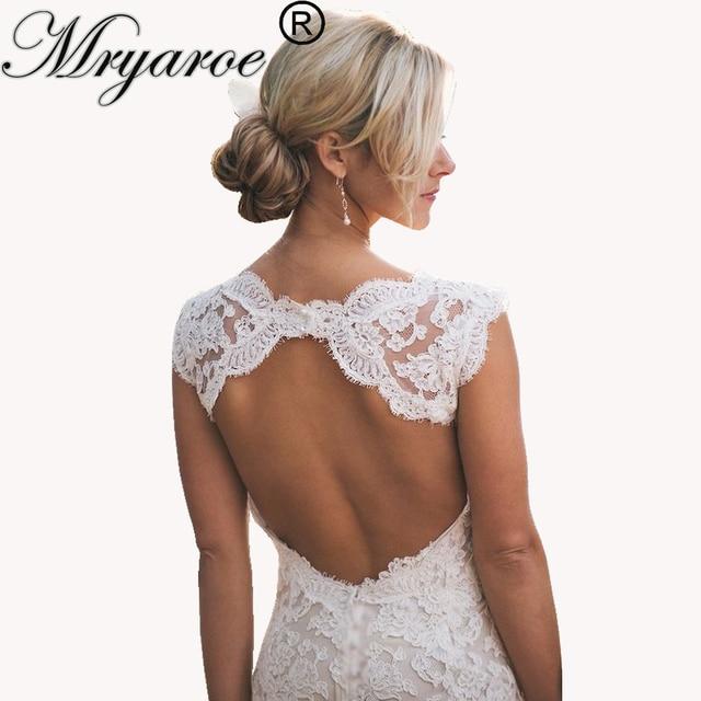 Mryarce Full Lace Bohemian Wedding Dresses Country Style Pluging V-neck Cap  Sleeves Keyhole Back Vintage Bridal Gowns 5914892ea37d