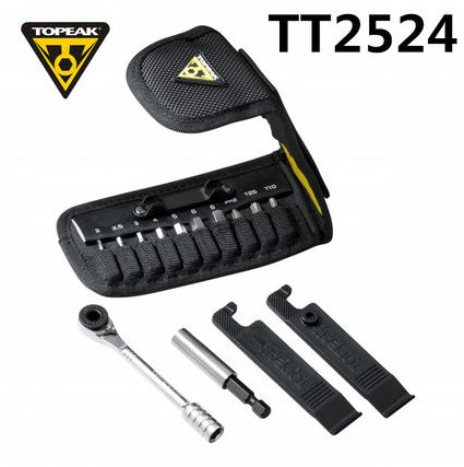 Topeak TT2524 À Cliquet Fusée Lite fonction Outils vtt T10/T25 Torx chaîne broches disjoncteur Hex Clé Allen Clé prise ensemble