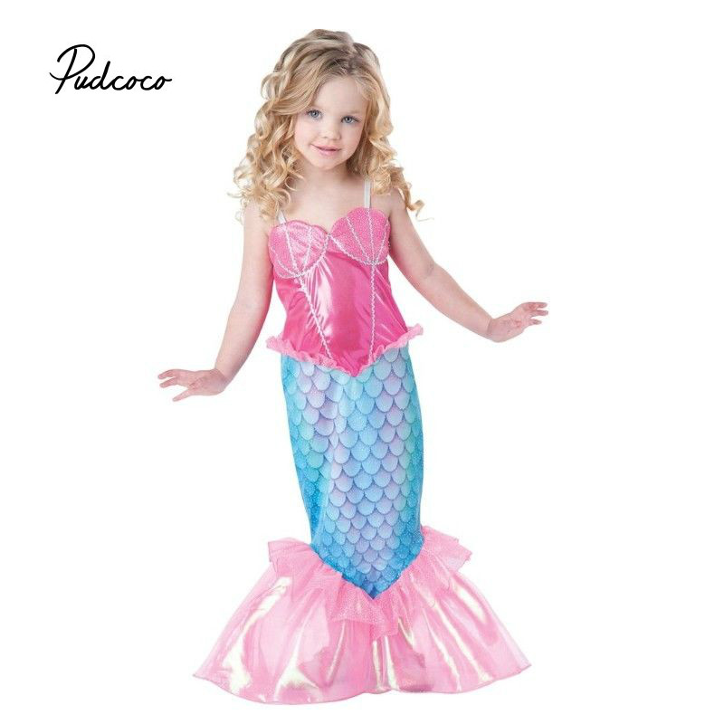 Pudcoco Baby Girls Clothes The Little Mermaid Ariel Kids Girls Dresses Princess Cosplay Halloween Costume pink floral towels
