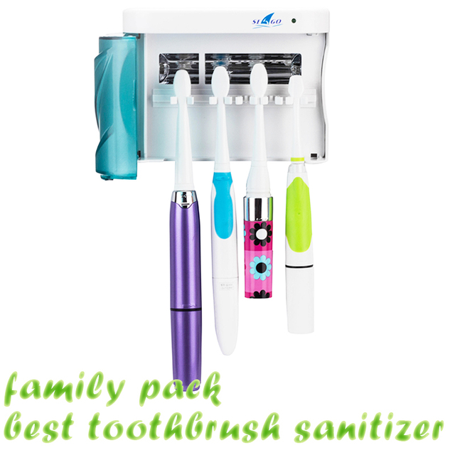 Wall-Mountable Toothbrush Sanitizer Zero Germ UV Light Toothbrush Holders Timer Sterilizer Tooth Whitening Tools 2pcs/lot