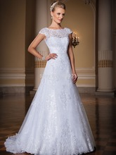 vestido de noiva china 2014 New Design A line Short Sleeve Lace Beading Sexy Wedding Dresses Custom Made TC12