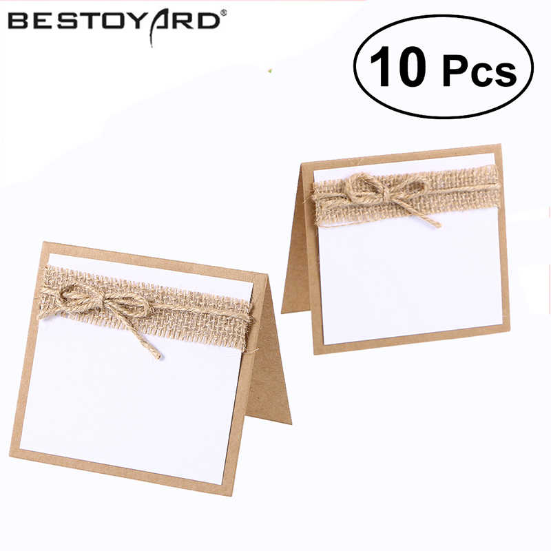 10pcs Guest Party Name Table Place Cards With Rustic Wedding Table Numbers Vintage Wedding Decoration