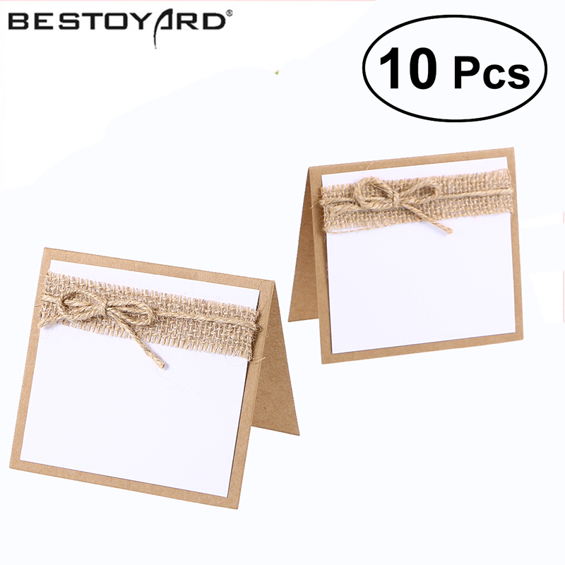 10pcs Guest Party Name Table Place Cards With Rustic Wedding Table Numbers Vintage Wedding Decoration image