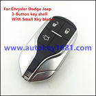 New Keyless 3 Button Entry Fob Remote Key Case Shell Fits for Chrysler Dodge Jeep with uncut small key blade With logo
