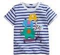 2016 новый летний ребенок Хлопок футболки вышитые слон полосатый бренд топы девочка и мальчик одежда детская летняя одежда