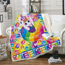 Plstar Cosmos Lisa and Frank Cartoon Blanket 3D print Sherpa on Bed Kids Girl Flower Home Textiles Dreamlike style-6