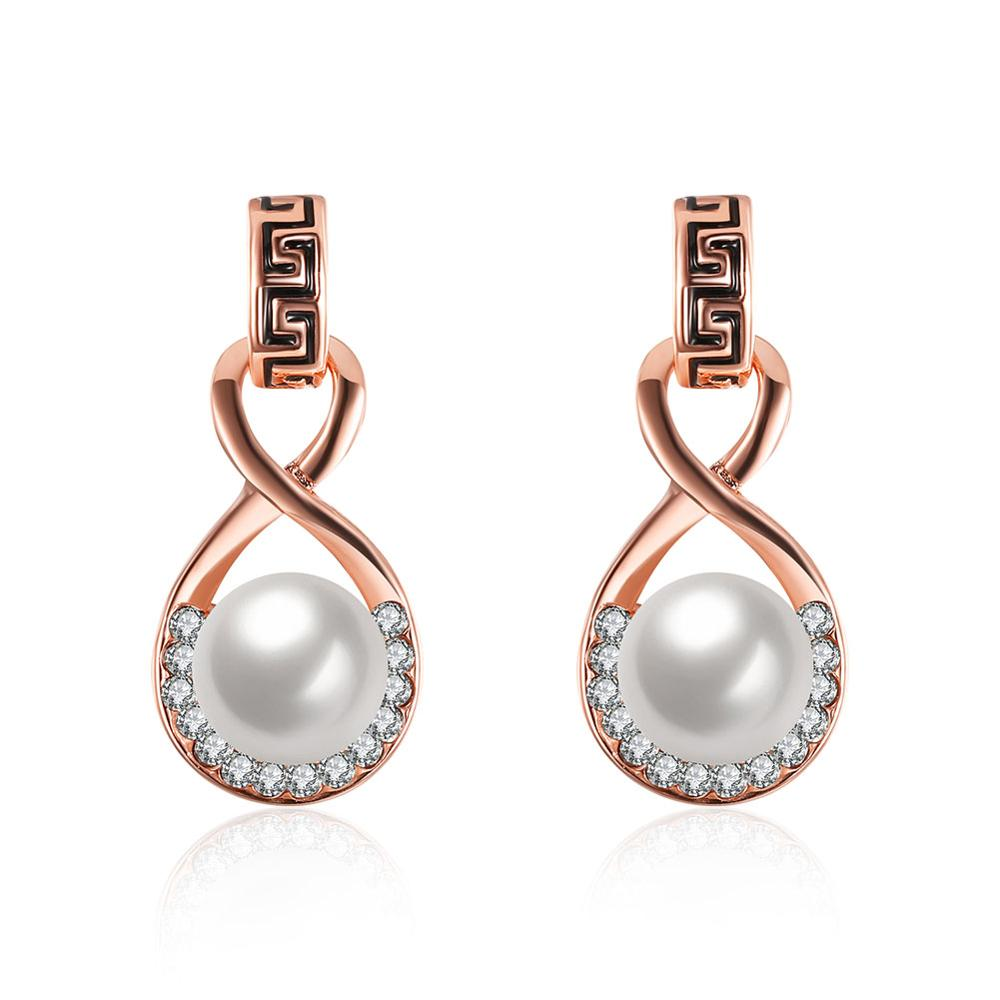 2017 Trendy Women Rose Gold And White Gold Jewelry Infinity 8 Font Big  White Pearl Earrings