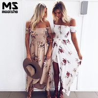 Mooishe Summer Beach Women Long Dress Boho Style Off Shoulder Cut Out Floral Print Pink White