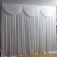 3*3M White Wedding Backdrop Curtain with Detachable Swag Event Party Stage Background Curtain