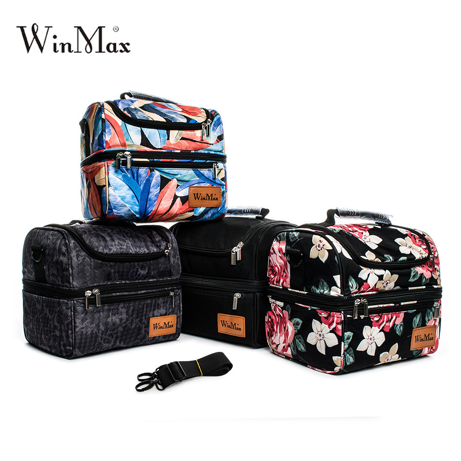 2018 Winmax Double Decker Cooler Lunch Bags Thicken Insulated Thermal Food Picnic Bags Cooler Tote Handbags Men Women Lunch Bags sannen 7l double decker cooler lunch bags insulated solid thermal lunchbox food picnic bag cooler tote handbags for men women