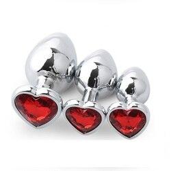 1 pièce 162g Dia 41 énorme taille argent cristal coeur forme métal plug anal bijoux godemichet anal encart bouchon sex toy pour hommes