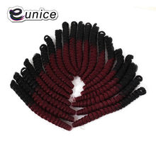 Spring Twist Hair Extension Produced By Eunice Crochet Hair Braiding With Kanekalon Pre-curled Textured Synthetic Hair American(China)