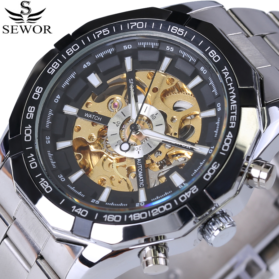 SEWOR Skeleton Series Fashion Designer Transparent Case Mens Watches Top Brand Luxury Automatic Mechanical Watch Stainless Steel forsining 2017 dragon series transparent silver case mens watches top brand luxury mechanical skeleton watch male wrist watches