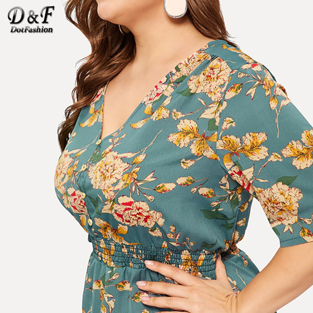 Dotfashion Plus Size Green Floral Print Split Dress Women 2019 Boho Summer V Neck Half Sleeve A Line High Waist Maxi Dresses 4